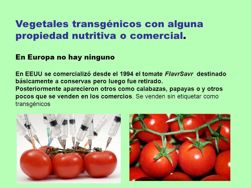 Vegetales transgénicos con alguna propiedad nutritiva o comercial. En Europa no hay ninguno En EEUU se comercializó desde el 1994 el tomate FlavrSavr
