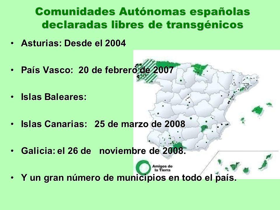 Comunidades Autónomas españolas declaradas libres de transgénicos Asturias: Desde el 2004Asturias: Desde el 2004 País Vasco: 20 de febrero de 2007País