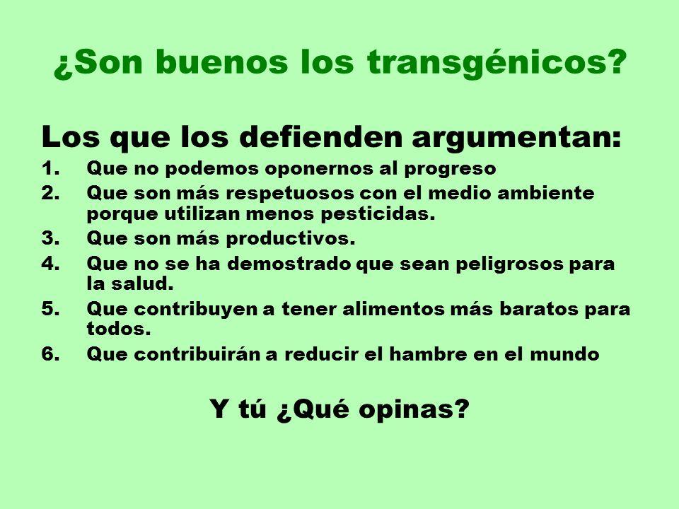 ¿Son buenos los transgénicos? Los que los defienden argumentan: 1.Que no podemos oponernos al progreso 2.Que son más respetuosos con el medio ambiente