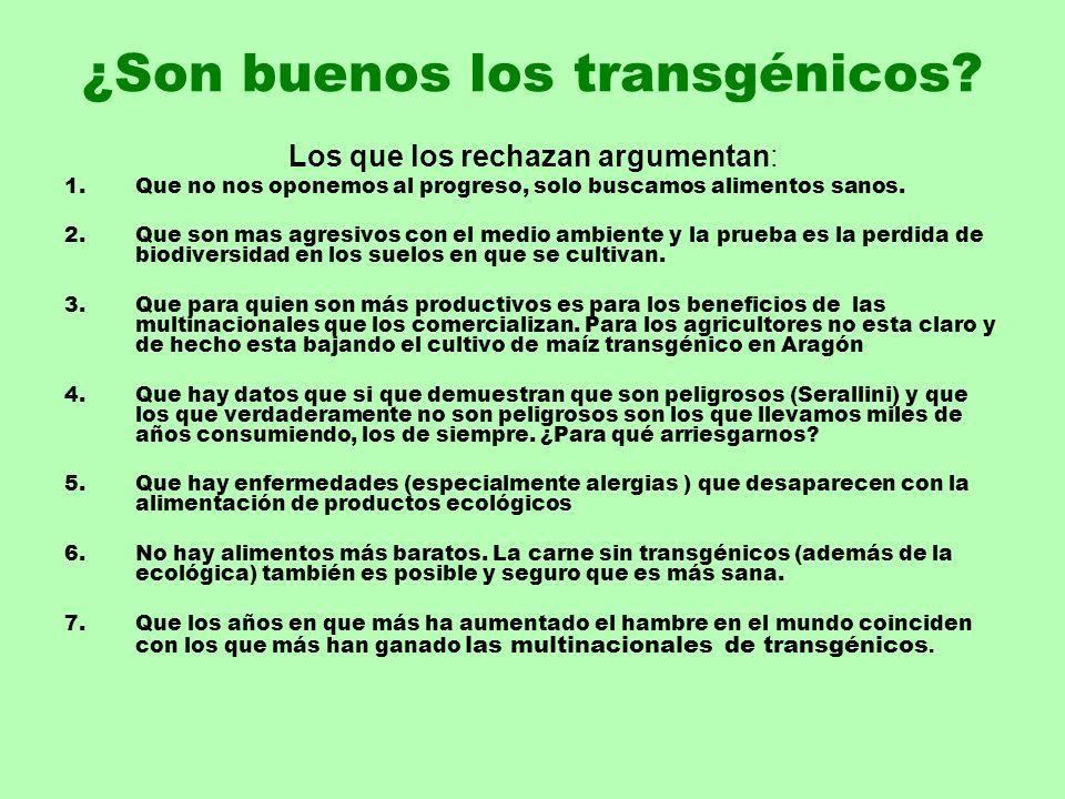 ¿Son buenos los transgénicos? Los que los rechazan argumentan: 1.Que no nos oponemos al progreso, solo buscamos alimentos sanos. 2.Que son mas agresiv