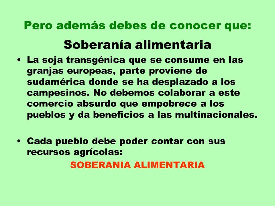 Pero además debes de conocer que: Soberanía alimentaria La soja transgénica que se consume en las granjas europeas, parte proviene de sudamérica donde