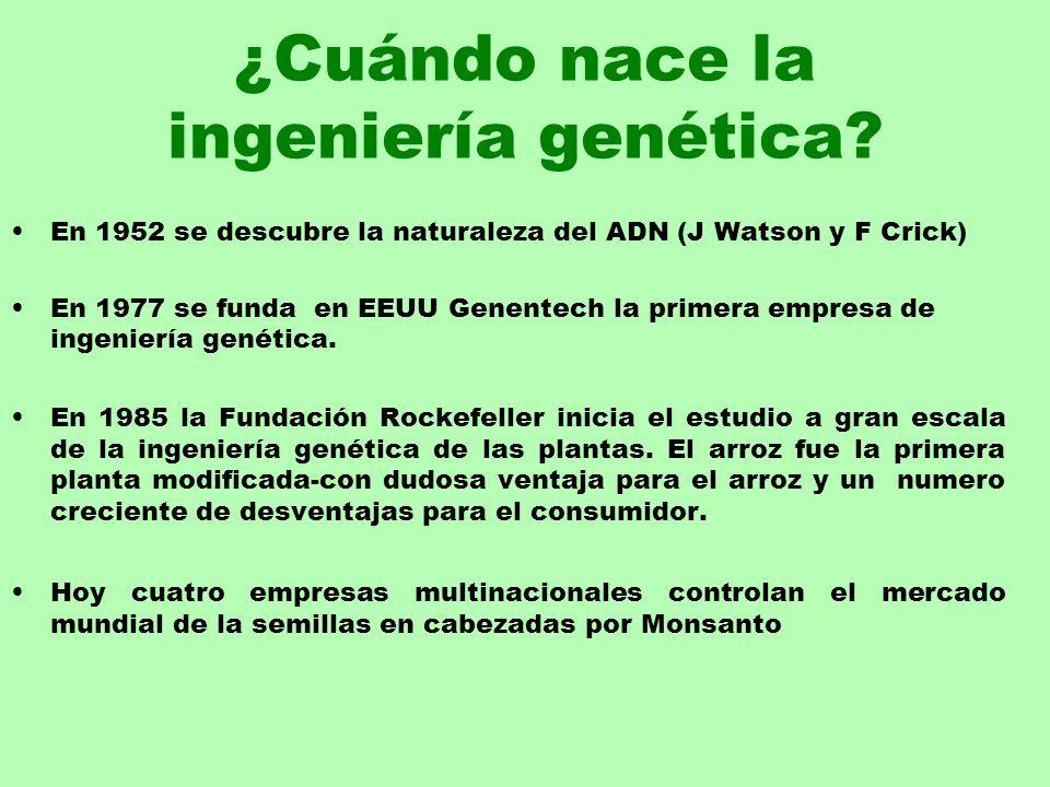 ¿Cuándo nace la ingeniería genética? En 1952 se descubre la naturaleza del ADN (J Watson y F Crick) En 1977 se funda en EEUU Genentech la primera empr