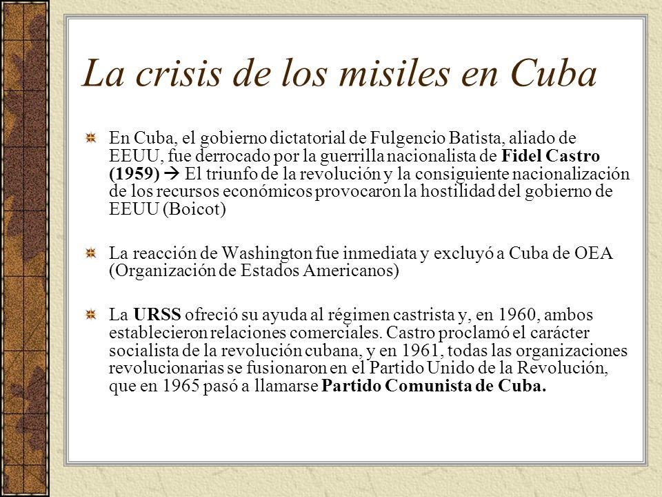 La crisis de los misiles en Cuba En Cuba, el gobierno dictatorial de Fulgencio Batista, aliado de EEUU, fue derrocado por la guerrilla nacionalista de