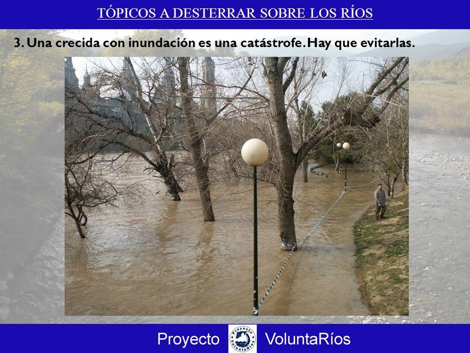 TÓPICOS A DESTERRAR SOBRE LOS RÍOS 3.c Una crecida con inundación es un proceso natural imprescindible para el sistema fluvial y sus ecosistemas asociados Revitalizan y conectan el ecosistema fluvial.