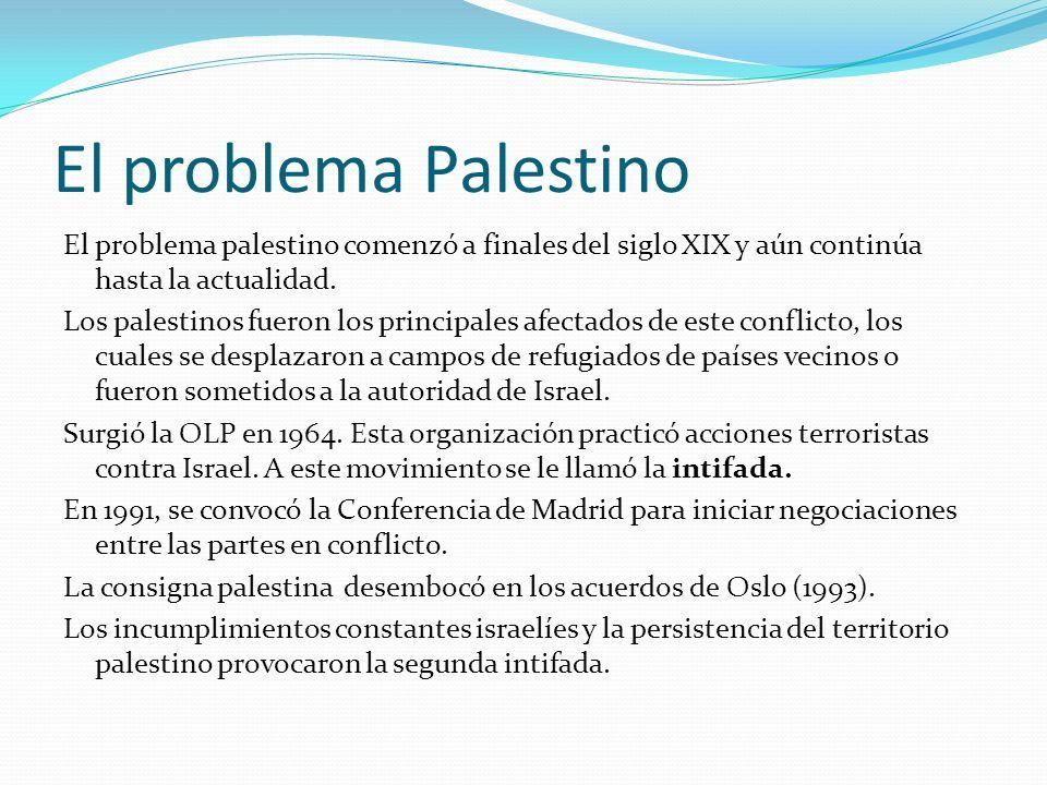 El problema palestino comenzó a finales del siglo XIX y aún continúa hasta la actualidad. Los palestinos fueron los principales afectados de este conf