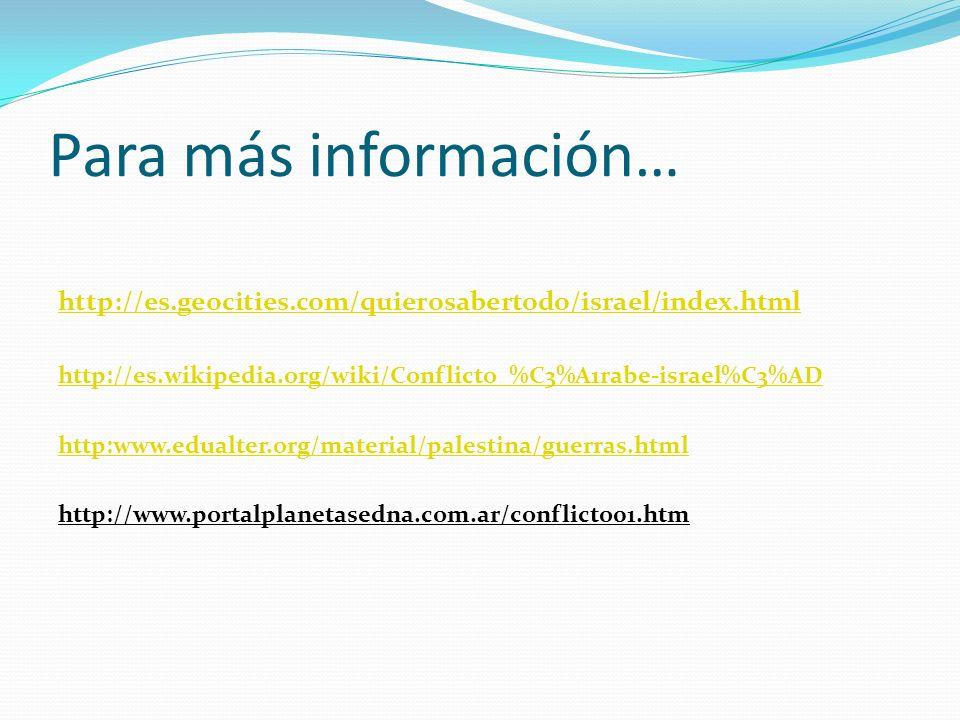 Para más información… http://es.geocities.com/quierosabertodo/israel/index.html http://es.wikipedia.org/wiki/Conflicto_%C3%A1rabe-israel%C3%AD http:ww