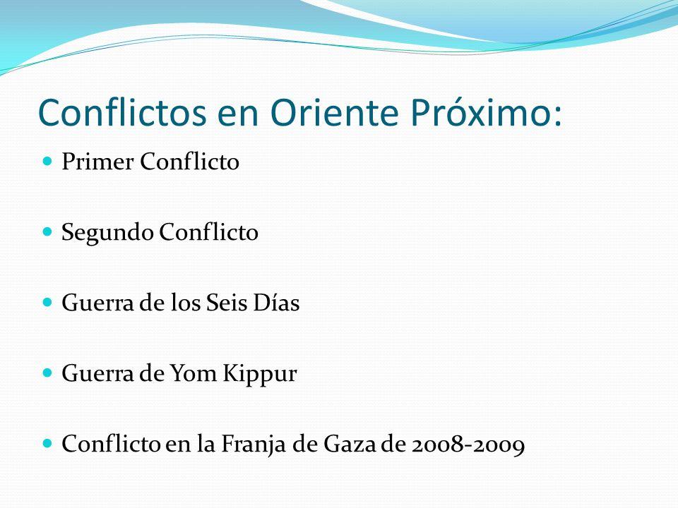 Conflictos en Oriente Próximo: Primer Conflicto Segundo Conflicto Guerra de los Seis Días Guerra de Yom Kippur Conflicto en la Franja de Gaza de 2008-