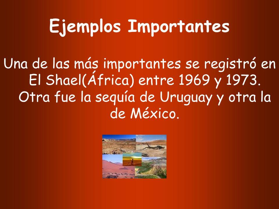 Ejemplos Importantes Una de las más importantes se registró en El Shael(África) entre 1969 y 1973. Otra fue la sequía de Uruguay y otra la de México.