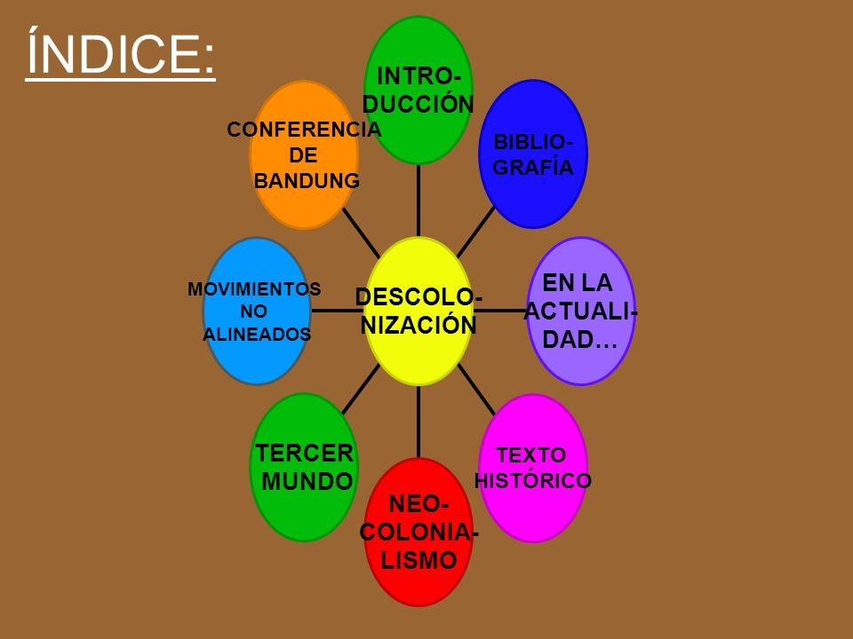 INTRO- DUCCIÓN BIBLIO- GRAFÍA EN LA ACTUALI- DAD… TEXTO HISTÓRICO NEO- COLONIA- LISMO TERCER MUNDO MOVIMIENTOS NO ALINEADOS CONFERENCIA DE BANDUNG DESCOLO- NIZACIÓN ÍNDICE: