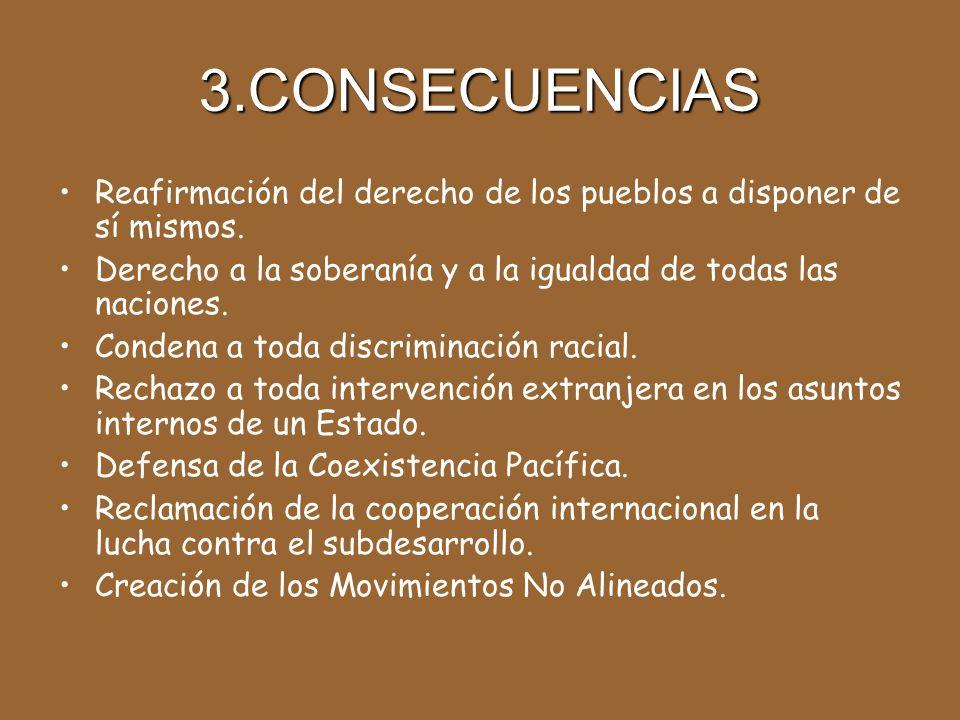 3.CONSECUENCIAS Reafirmación del derecho de los pueblos a disponer de sí mismos.