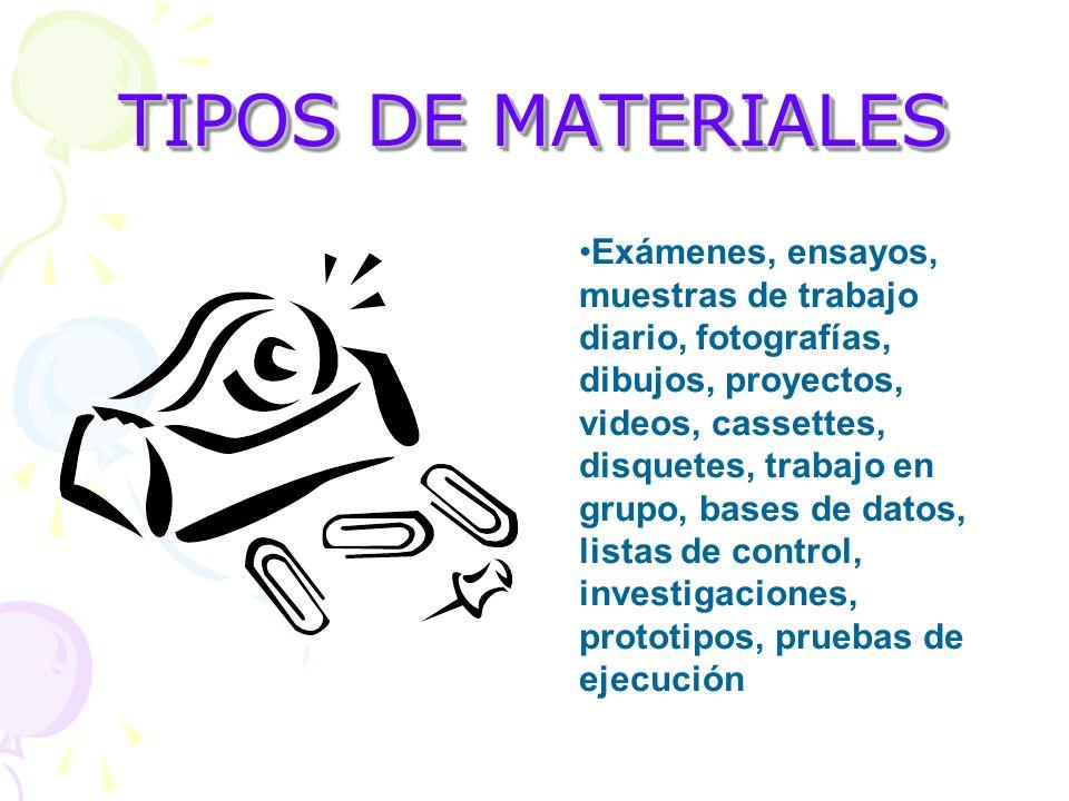 TIPOS DE MATERIALES Exámenes, ensayos, muestras de trabajo diario, fotografías, dibujos, proyectos, videos, cassettes, disquetes, trabajo en grupo, ba