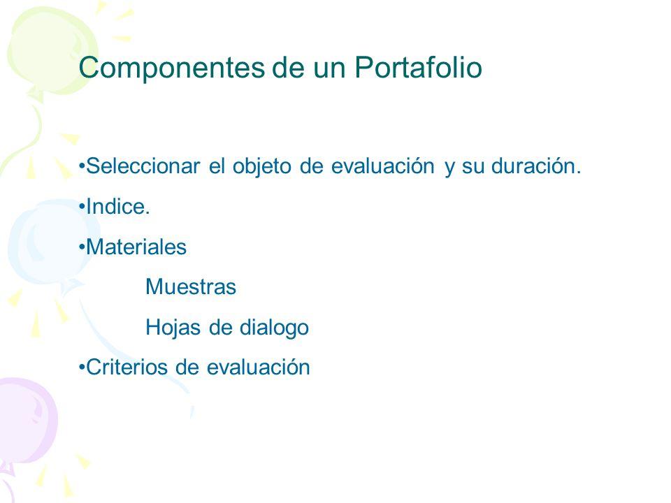 Componentes de un Portafolio Seleccionar el objeto de evaluación y su duración. Indice. Materiales Muestras Hojas de dialogo Criterios de evaluación