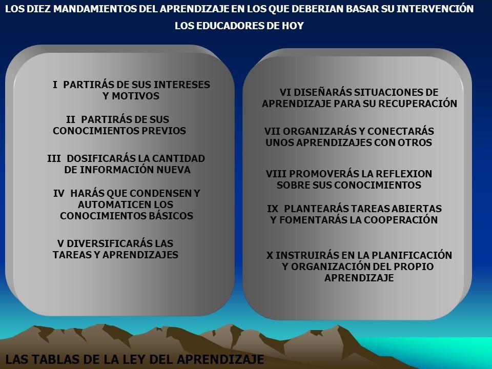 LOS DIEZ MANDAMIENTOS DEL APRENDIZAJE EN LOS QUE DEBERIAN BASAR SU INTERVENCIÓN LOS EDUCADORES DE HOY I PARTIRÁS DE SUS INTERESES Y MOTIVOS II PARTIRÁ
