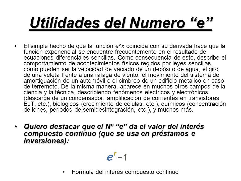 Utilidades del Numero e El simple hecho de que la función e^x coincida con su derivada hace que la función exponencial se encuentre frecuentemente en