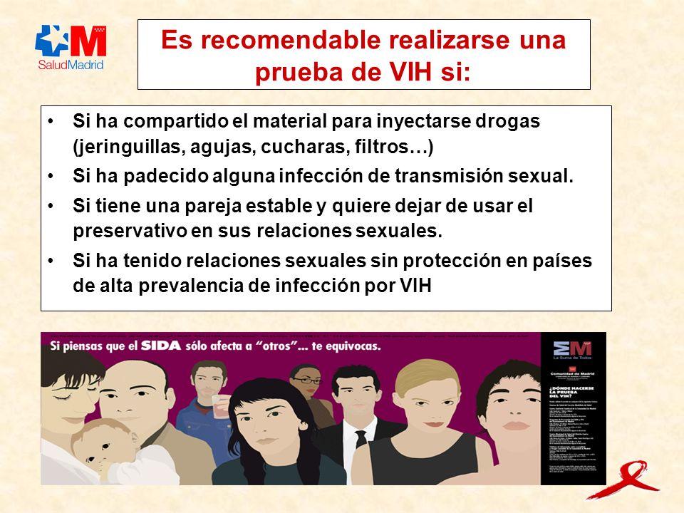 Es recomendable realizarse una prueba de VIH si: Si ha compartido el material para inyectarse drogas (jeringuillas, agujas, cucharas, filtros…) Si ha