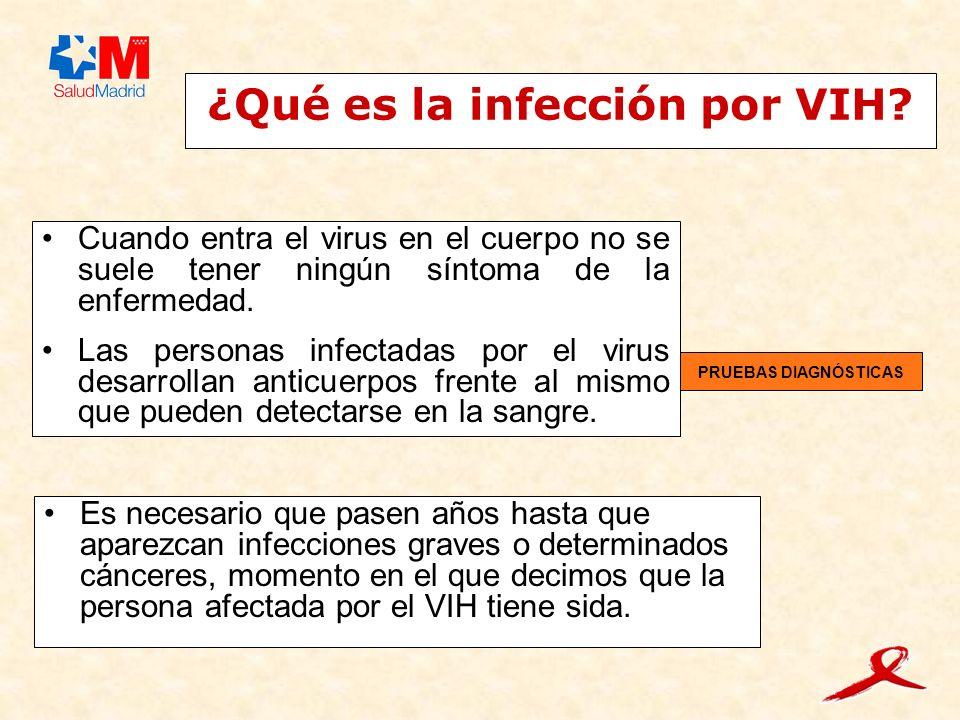 ¿Qué es la infección por VIH? Cuando entra el virus en el cuerpo no se suele tener ningún síntoma de la enfermedad. Las personas infectadas por el vir