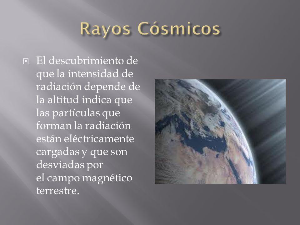 El descubrimiento de que la intensidad de radiación depende de la altitud indica que las partículas que forman la radiación están eléctricamente carga