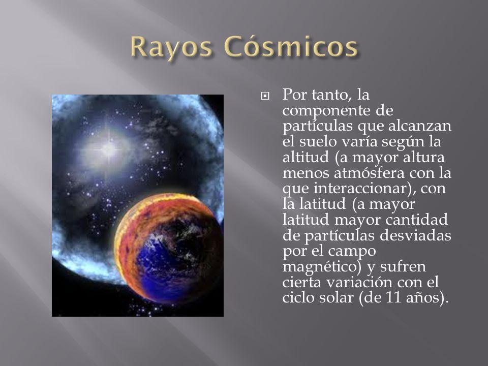 Por tanto, la componente de partículas que alcanzan el suelo varía según la altitud (a mayor altura menos atmósfera con la que interaccionar), con la