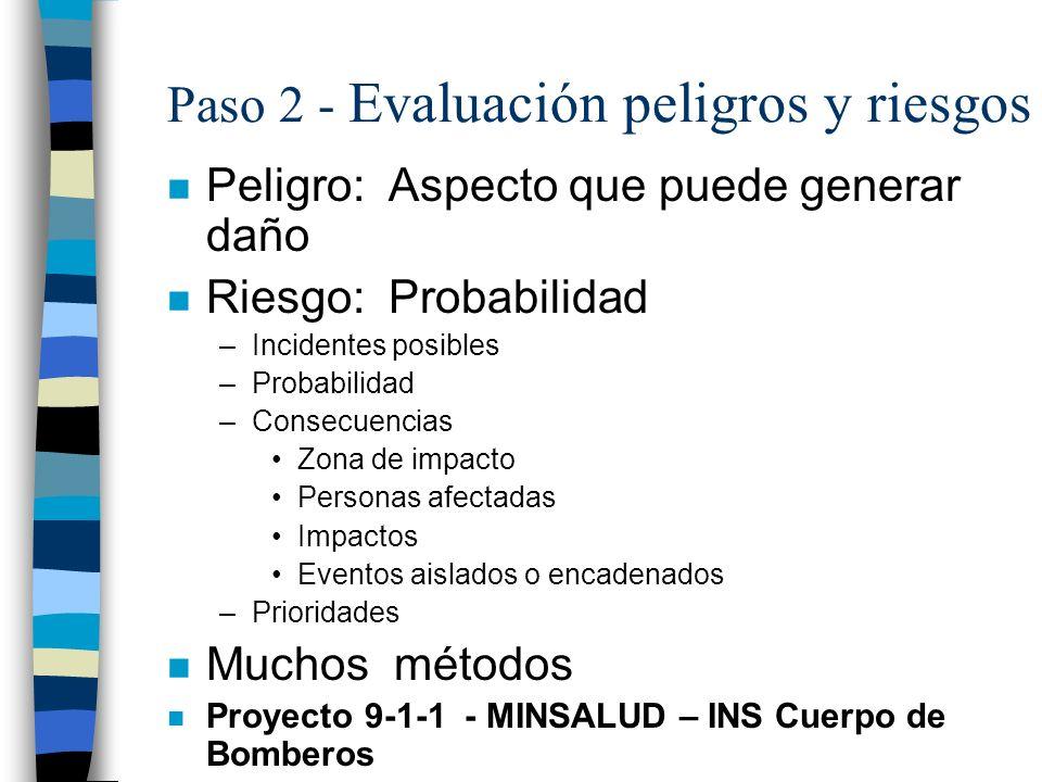 Paso 2 - Evaluación peligros y riesgos n Peligro: Aspecto que puede generar daño n Riesgo: Probabilidad –Incidentes posibles –Probabilidad –Consecuenc