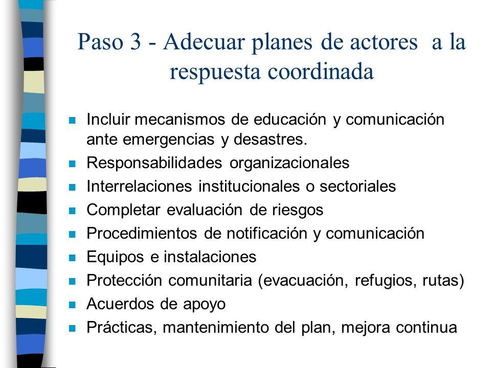 Paso 3 - Adecuar planes de actores a la respuesta coordinada n Incluir mecanismos de educación y comunicación ante emergencias y desastres. n Responsa