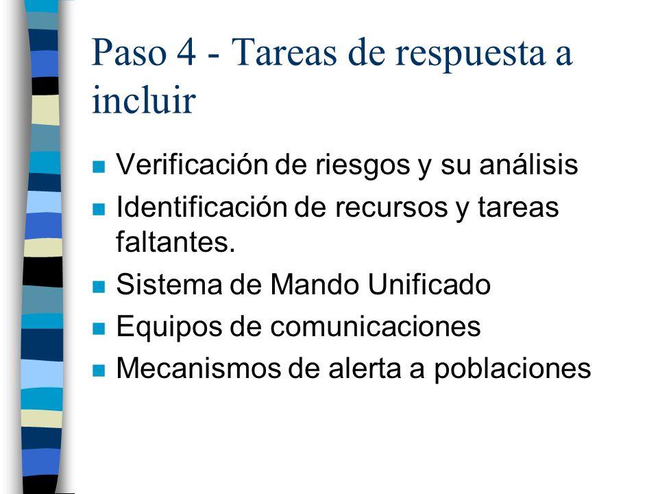 Paso 4 - Tareas de respuesta a incluir n Verificación de riesgos y su análisis n Identificación de recursos y tareas faltantes. n Sistema de Mando Uni