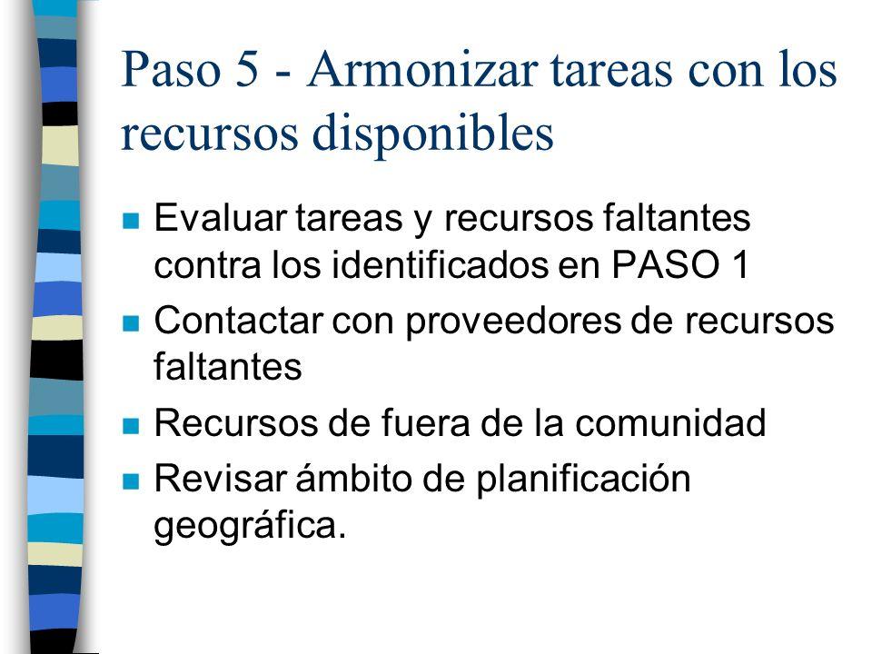 Paso 5 - Armonizar tareas con los recursos disponibles n Evaluar tareas y recursos faltantes contra los identificados en PASO 1 n Contactar con provee