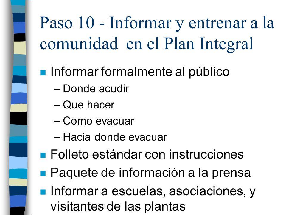 Paso 10 - Informar y entrenar a la comunidad en el Plan Integral n Informar formalmente al público –Donde acudir –Que hacer –Como evacuar –Hacia donde