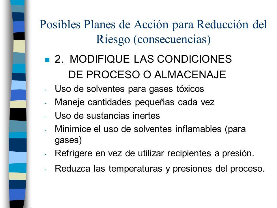 Posibles Planes de Acción para Reducción del Riesgo (consecuencias) n 2. MODIFIQUE LAS CONDICIONES DE PROCESO O ALMACENAJE - Uso de solventes para gas