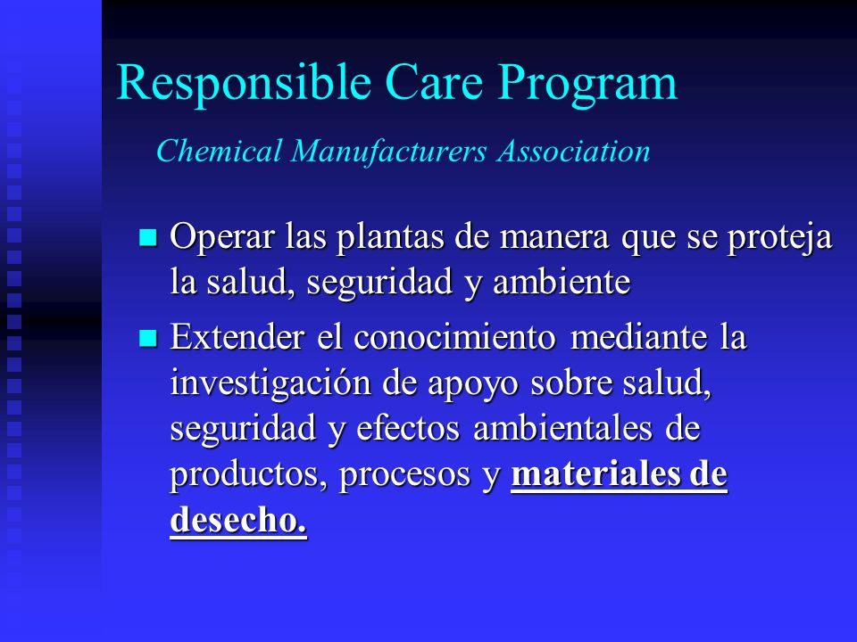 Responsible Care Program Chemical Manufacturers Association Operar las plantas de manera que se proteja la salud, seguridad y ambiente Operar las plan