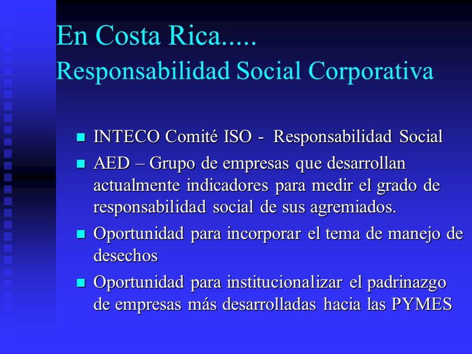 En Costa Rica..... Responsabilidad Social Corporativa INTECO Comité ISO - Responsabilidad Social INTECO Comité ISO - Responsabilidad Social AED – Grup