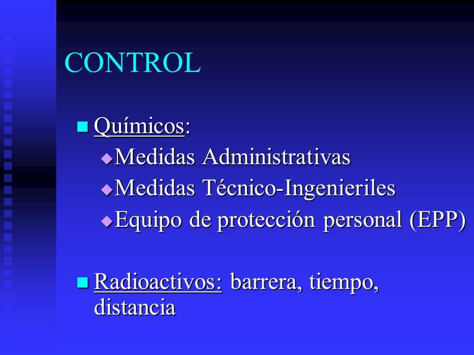 CONTROL Químicos: Químicos: Medidas Administrativas Medidas Administrativas Medidas Técnico-Ingenieriles Medidas Técnico-Ingenieriles Equipo de protec