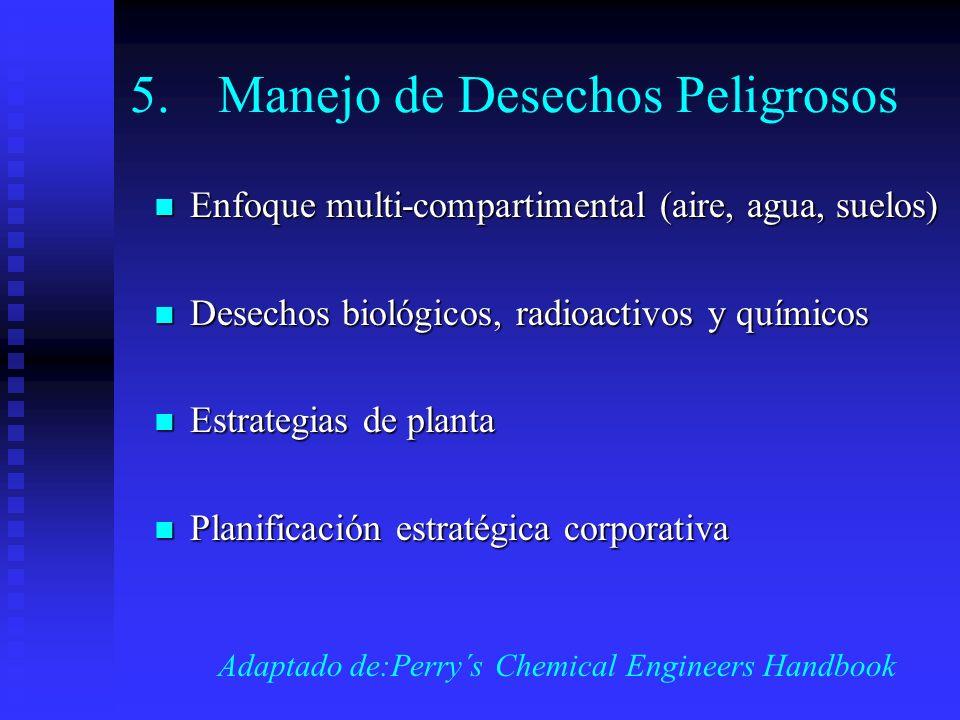 5.Manejo de Desechos Peligrosos Enfoque multi-compartimental (aire, agua, suelos) Enfoque multi-compartimental (aire, agua, suelos) Desechos biológico