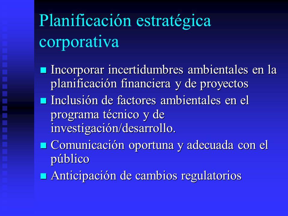 Planificación estratégica corporativa Incorporar incertidumbres ambientales en la planificación financiera y de proyectos Incorporar incertidumbres am