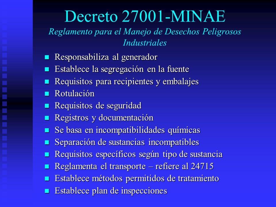 Decreto 27001-MINAE Reglamento para el Manejo de Desechos Peligrosos Industriales Responsabiliza al generador Responsabiliza al generador Establece la