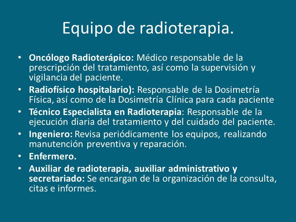 Equipo de radioterapia. Oncólogo Radioterápico: Médico responsable de la prescripción del tratamiento, así como la supervisión y vigilancia del pacien