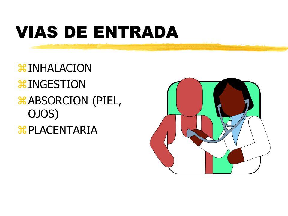 VIAS DE ENTRADA zINHALACION zINGESTION zABSORCION (PIEL, OJOS) zPLACENTARIA