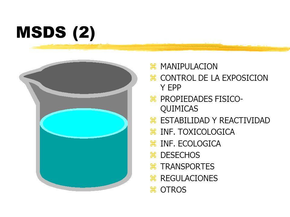 MSDS (2) z MANIPULACION z CONTROL DE LA EXPOSICION Y EPP z PROPIEDADES FISICO- QUIMICAS z ESTABILIDAD Y REACTIVIDAD z INF. TOXICOLOGICA z INF. ECOLOGI