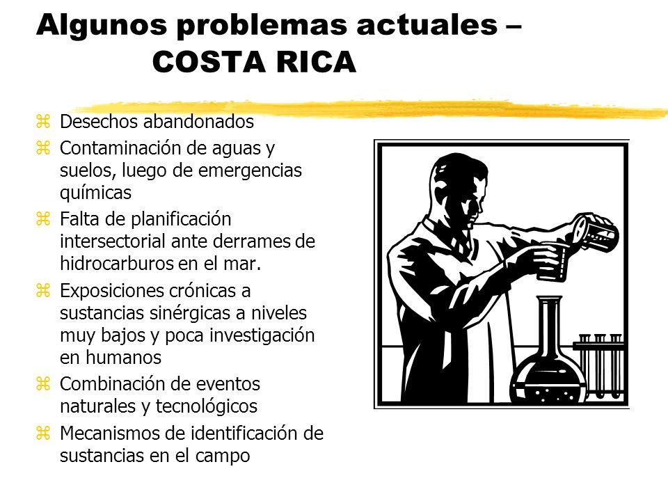 Algunos problemas actuales – COSTA RICA zDesechos abandonados zContaminación de aguas y suelos, luego de emergencias químicas zFalta de planificación