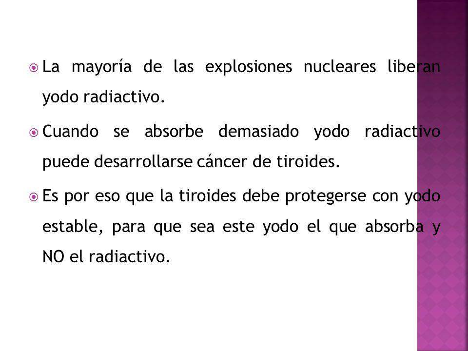La mayoría de las explosiones nucleares liberan yodo radiactivo. Cuando se absorbe demasiado yodo radiactivo puede desarrollarse cáncer de tiroides. E