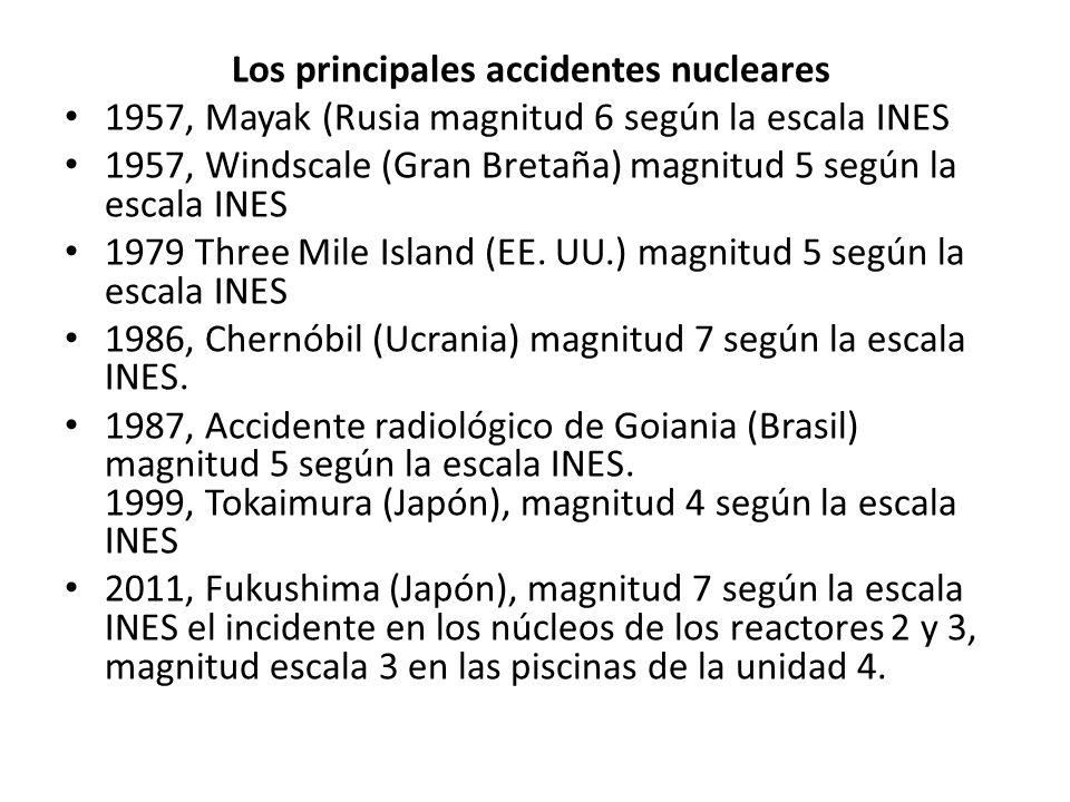 Los principales accidentes nucleares 1957, Mayak (Rusia magnitud 6 según la escala INES 1957, Windscale (Gran Bretaña) magnitud 5 según la escala INES