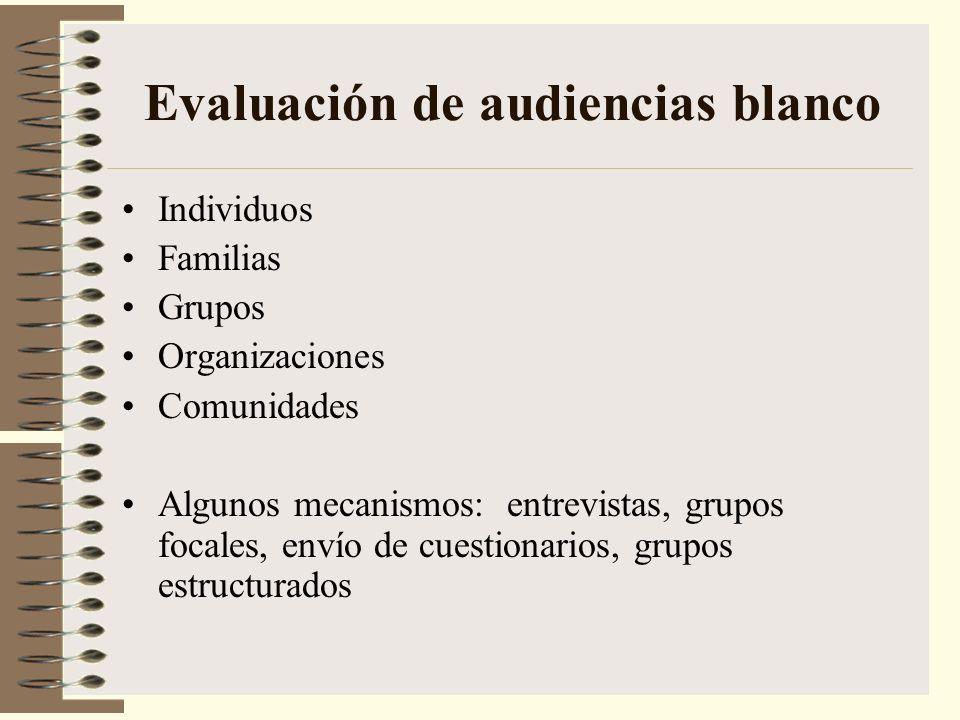 Evaluación de audiencias blanco Individuos Familias Grupos Organizaciones Comunidades Algunos mecanismos: entrevistas, grupos focales, envío de cuesti