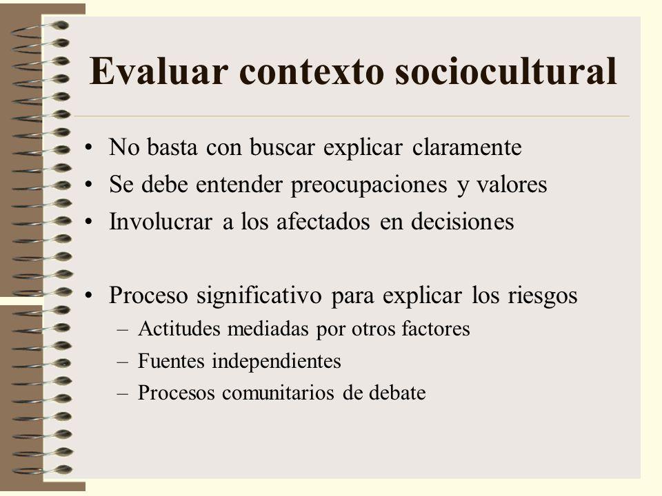 Evaluar contexto sociocultural No basta con buscar explicar claramente Se debe entender preocupaciones y valores Involucrar a los afectados en decisio