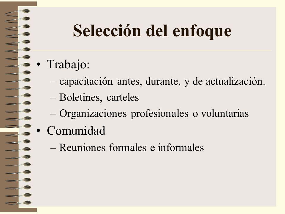 Selección del enfoque Trabajo: –capacitación antes, durante, y de actualización. –Boletines, carteles –Organizaciones profesionales o voluntarias Comu