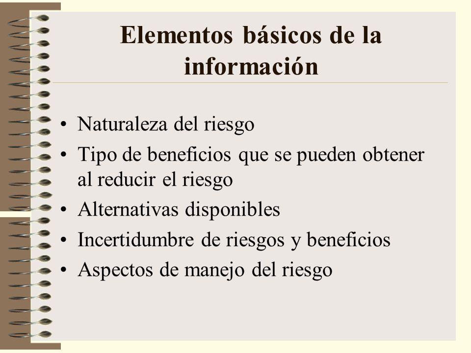 Elementos básicos de la información Naturaleza del riesgo Tipo de beneficios que se pueden obtener al reducir el riesgo Alternativas disponibles Incer