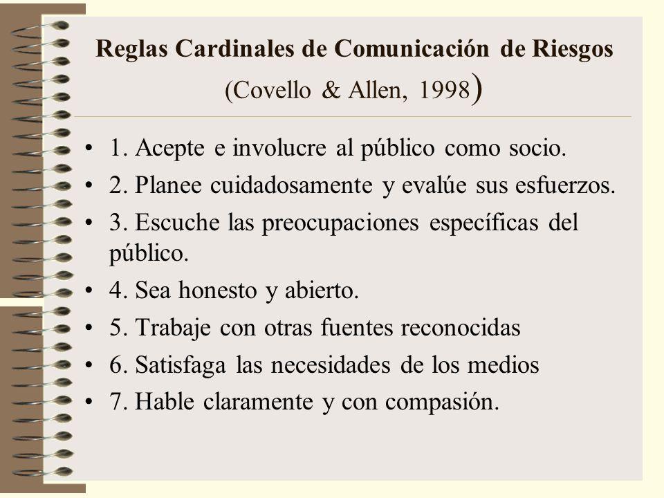 Reglas Cardinales de Comunicación de Riesgos (Covello & Allen, 1998 ) 1. Acepte e involucre al público como socio. 2. Planee cuidadosamente y evalúe s