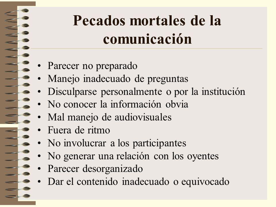 Pecados mortales de la comunicación Parecer no preparado Manejo inadecuado de preguntas Disculparse personalmente o por la institución No conocer la i