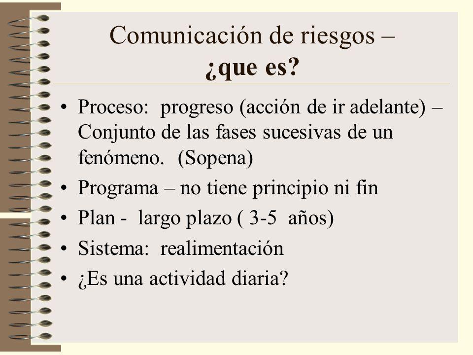 Comunicación de riesgos – ¿que es? Proceso: progreso (acción de ir adelante) – Conjunto de las fases sucesivas de un fenómeno. (Sopena) Programa – no