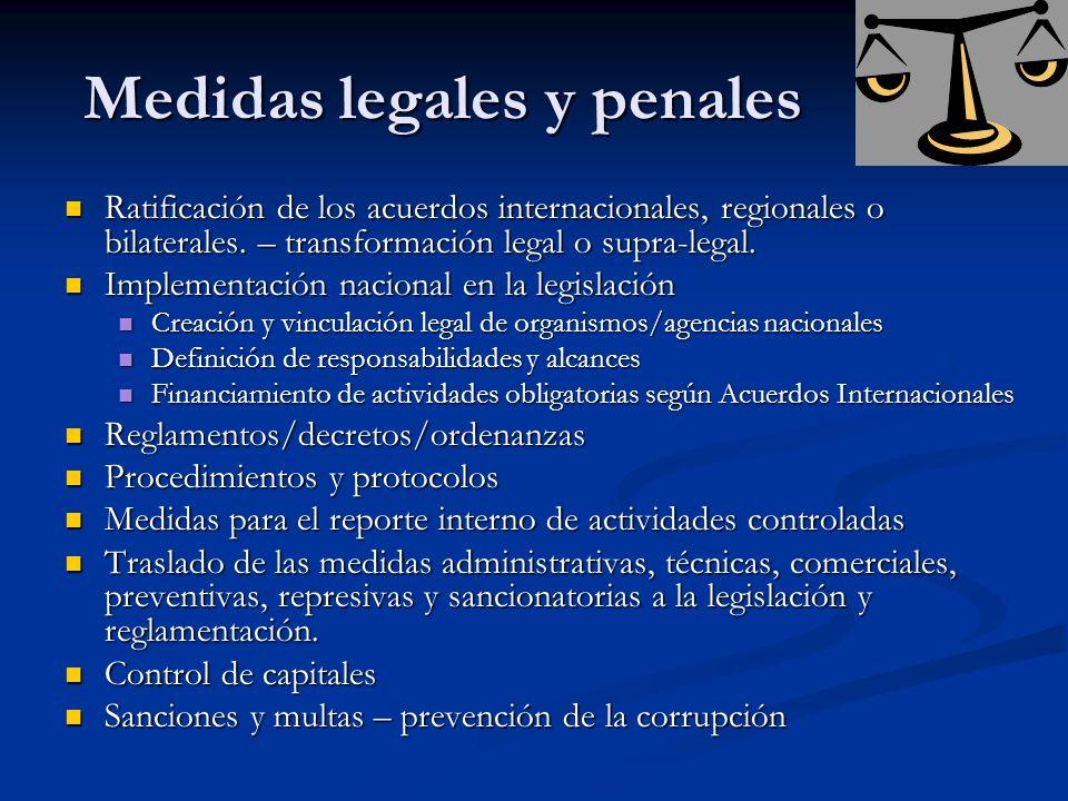 Medidas legales y penales Ratificación de los acuerdos internacionales, regionales o bilaterales. – transformación legal o supra-legal. Ratificación d
