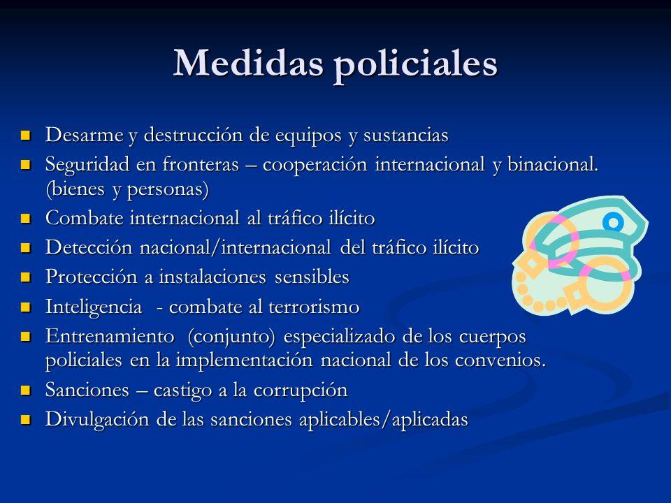 Medidas policiales Desarme y destrucción de equipos y sustancias Desarme y destrucción de equipos y sustancias Seguridad en fronteras – cooperación in