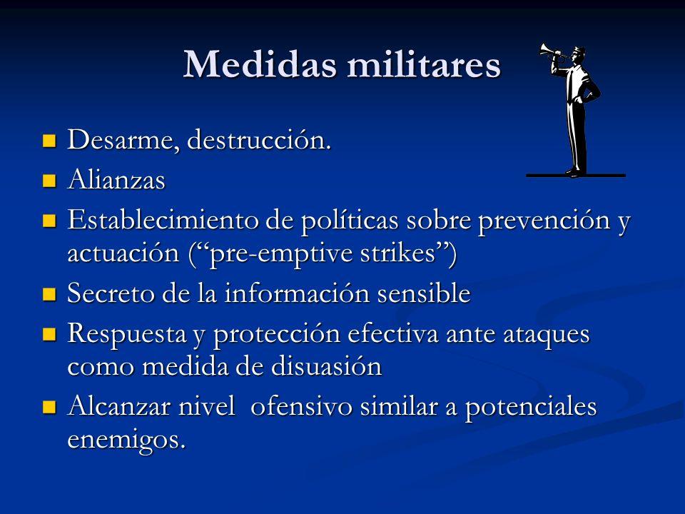Medidas militares Desarme, destrucción. Desarme, destrucción. Alianzas Alianzas Establecimiento de políticas sobre prevención y actuación (pre-emptive